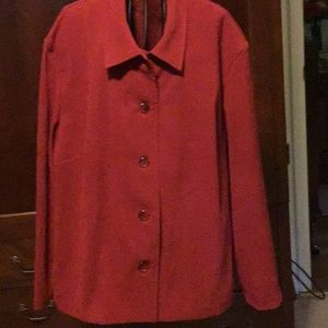 Briggs NY deep red faux suede jacket, Size 3X